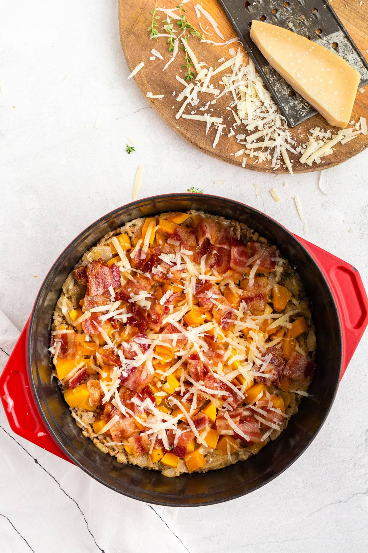Grated Parmesan cheese over a casserole