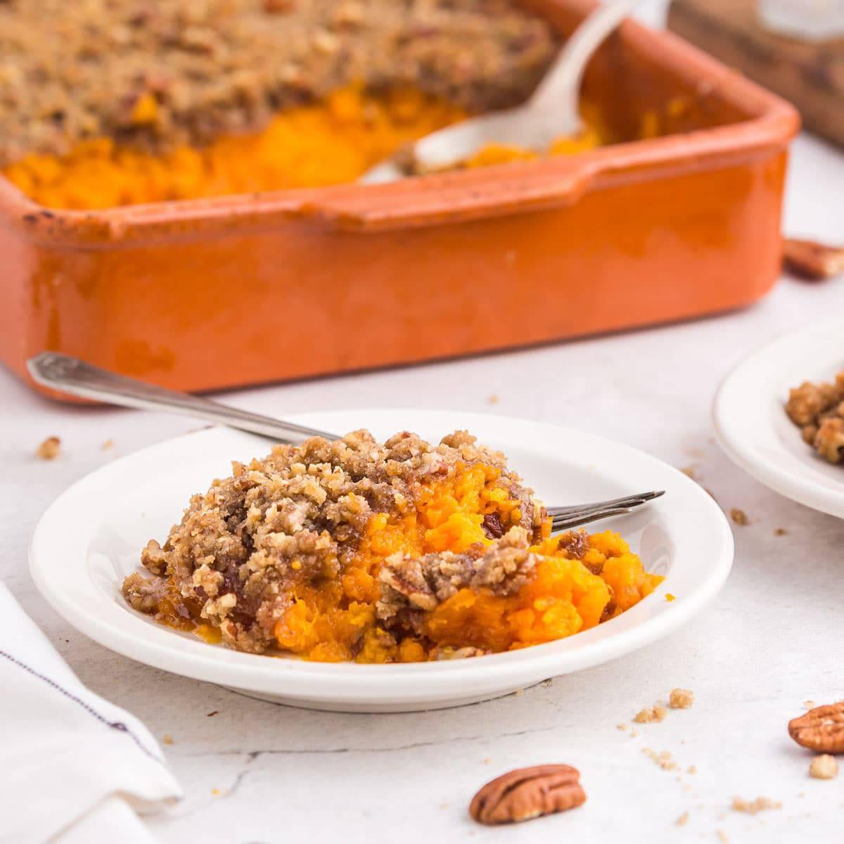 A serving of sweet potato souffle