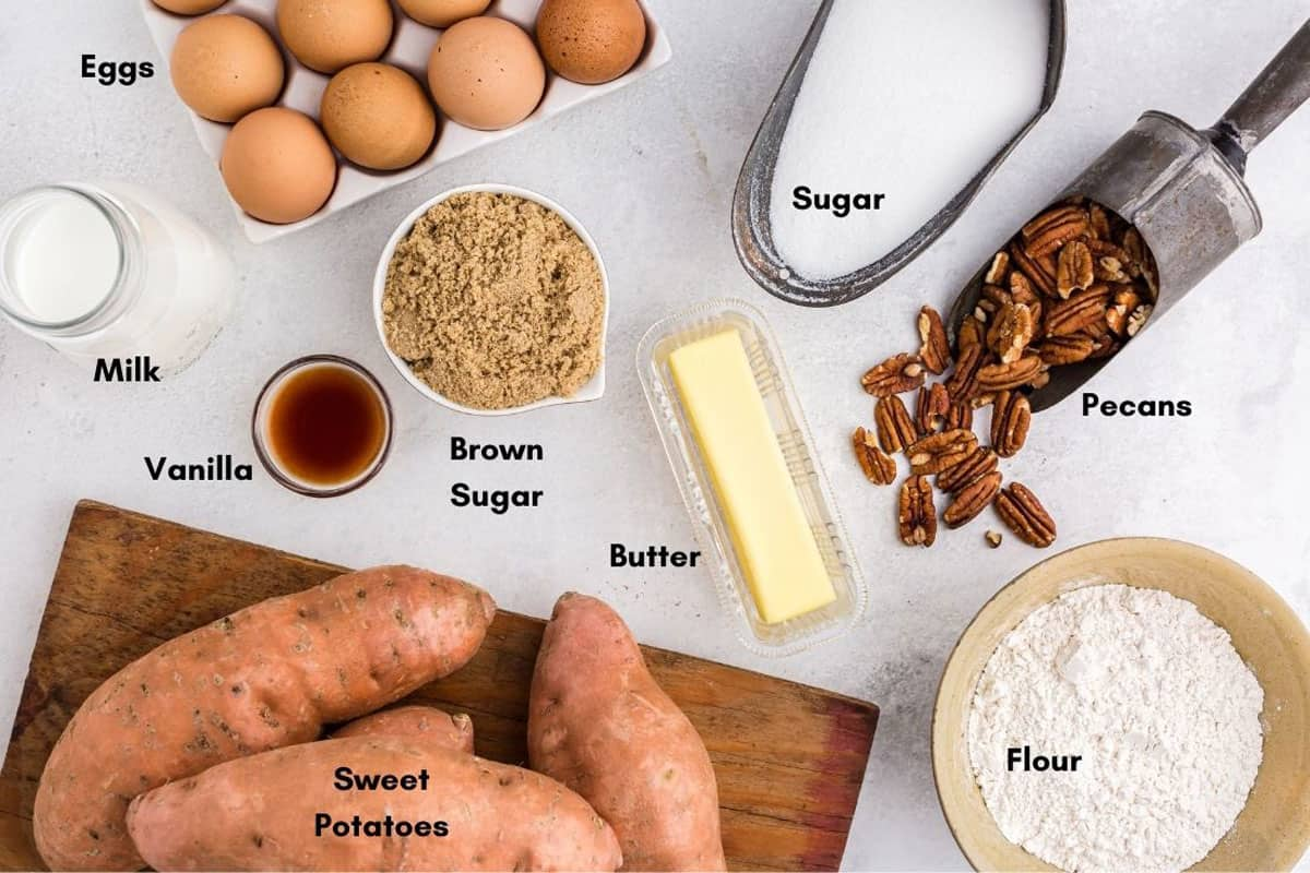 Sweet Potatoes on a cutting board and other ingredients