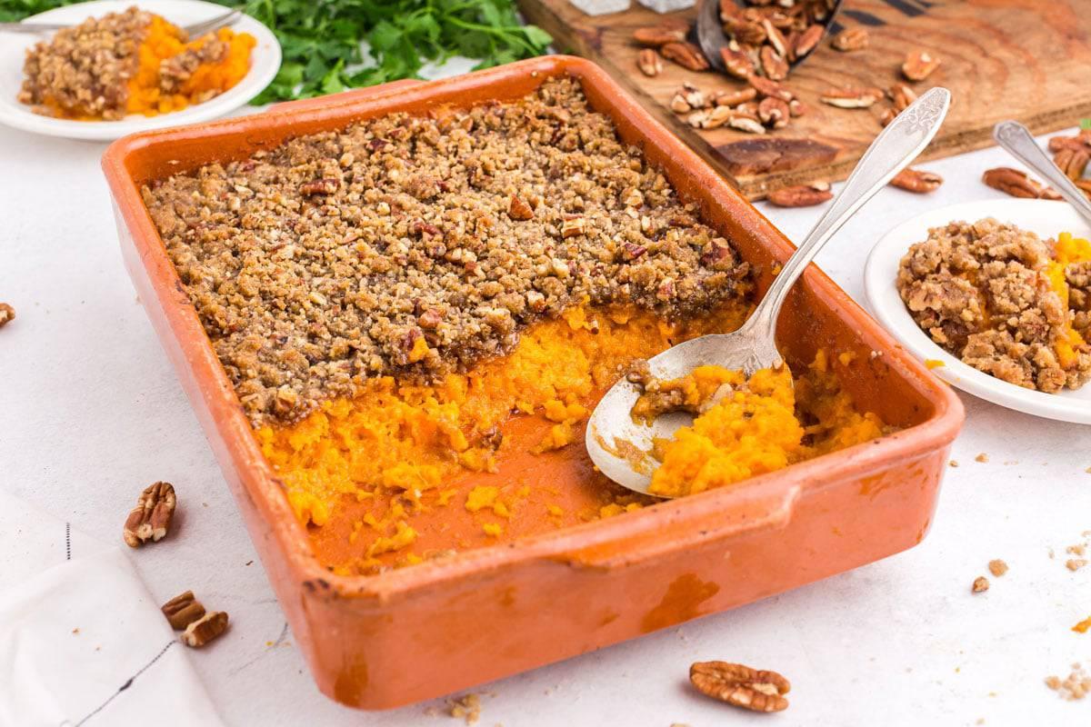 A pan of sweet potato casserole