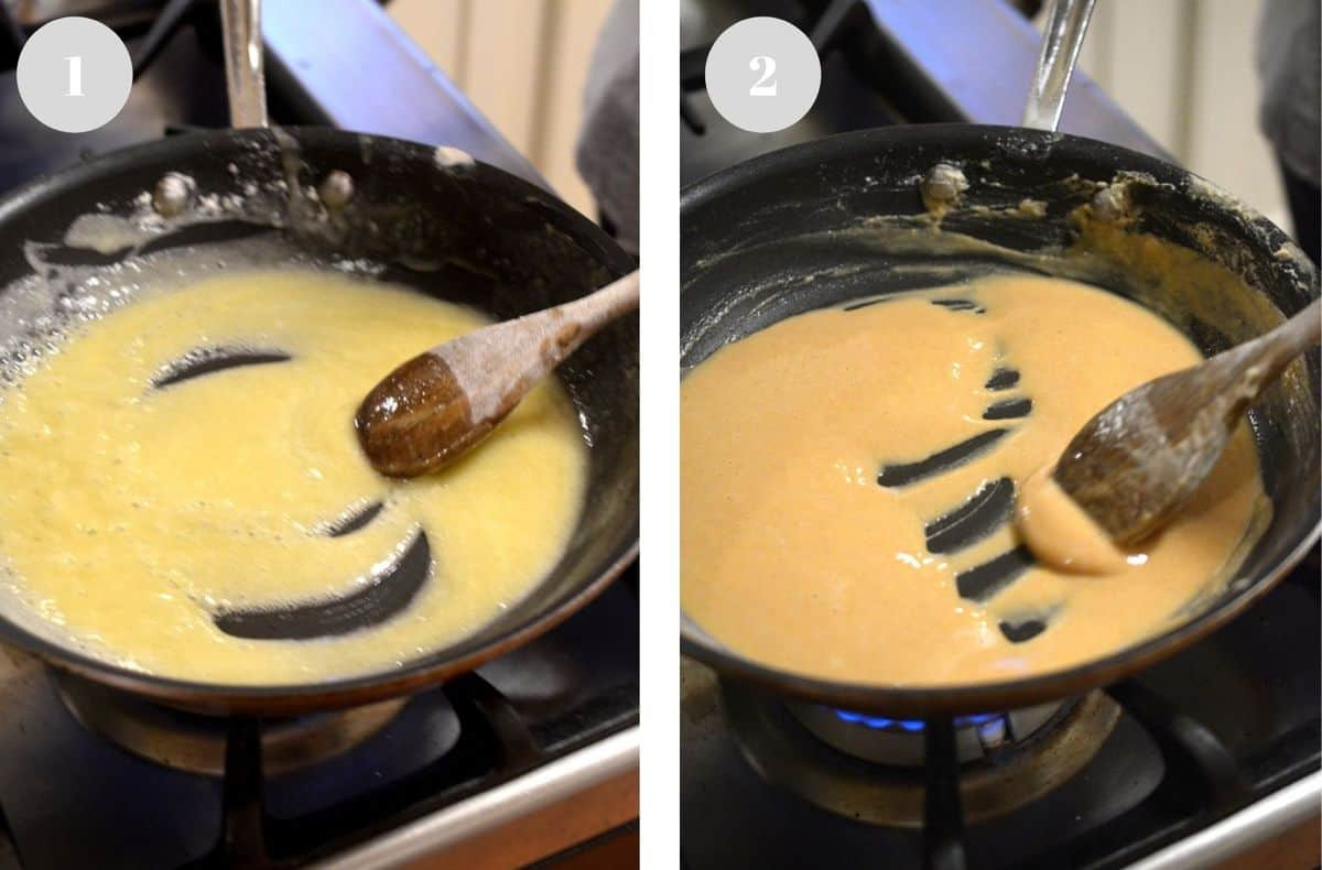 Stirring a light roux in one pan and a dark roux in another pan.