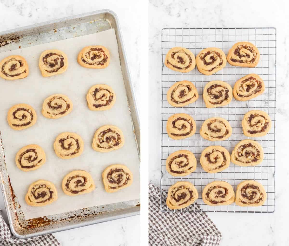 A batch of pinwheel cookies on a baking sheet and on a cooling track