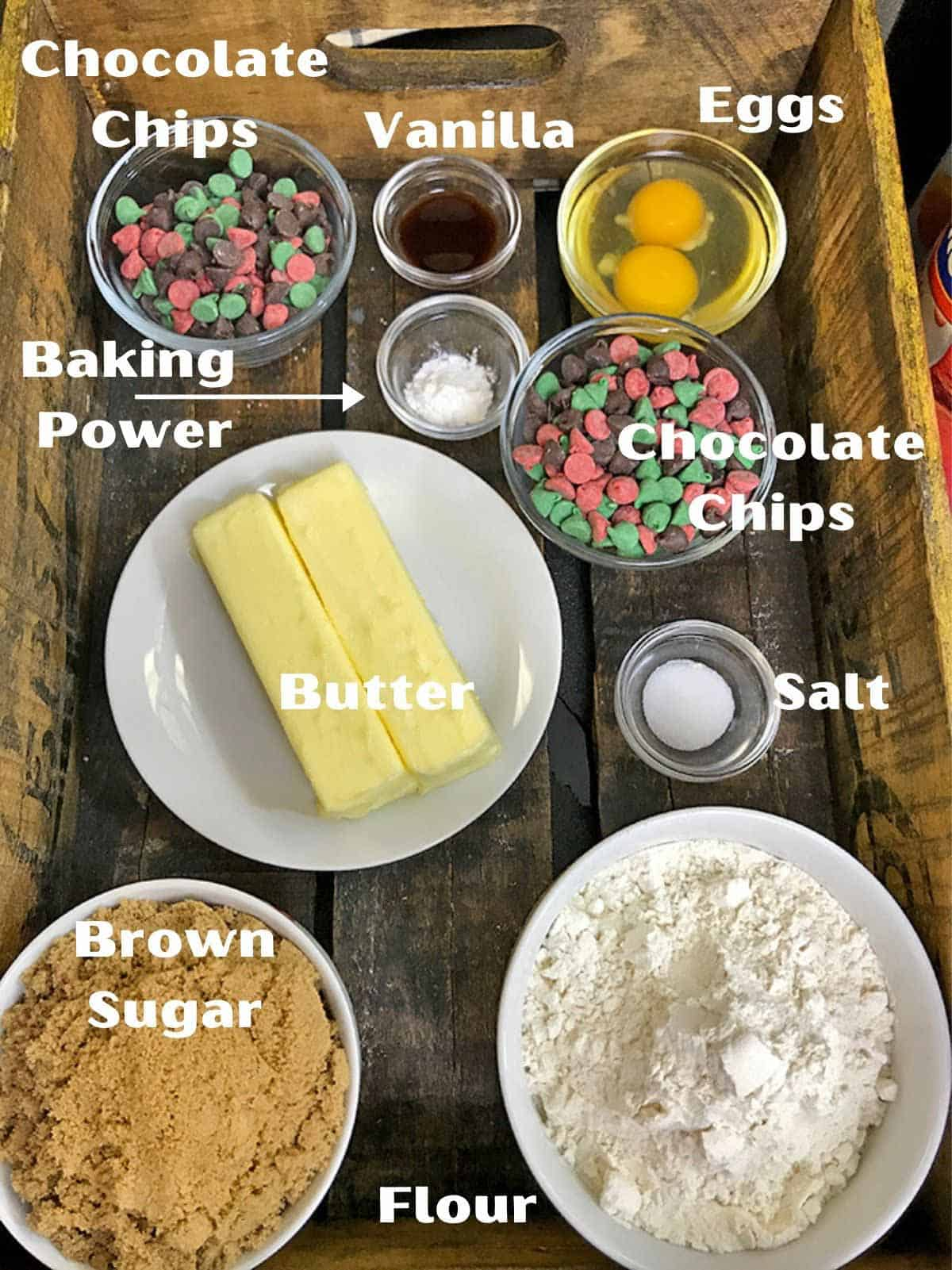 Butter, flour, chocolate chips and other baking ingredients.