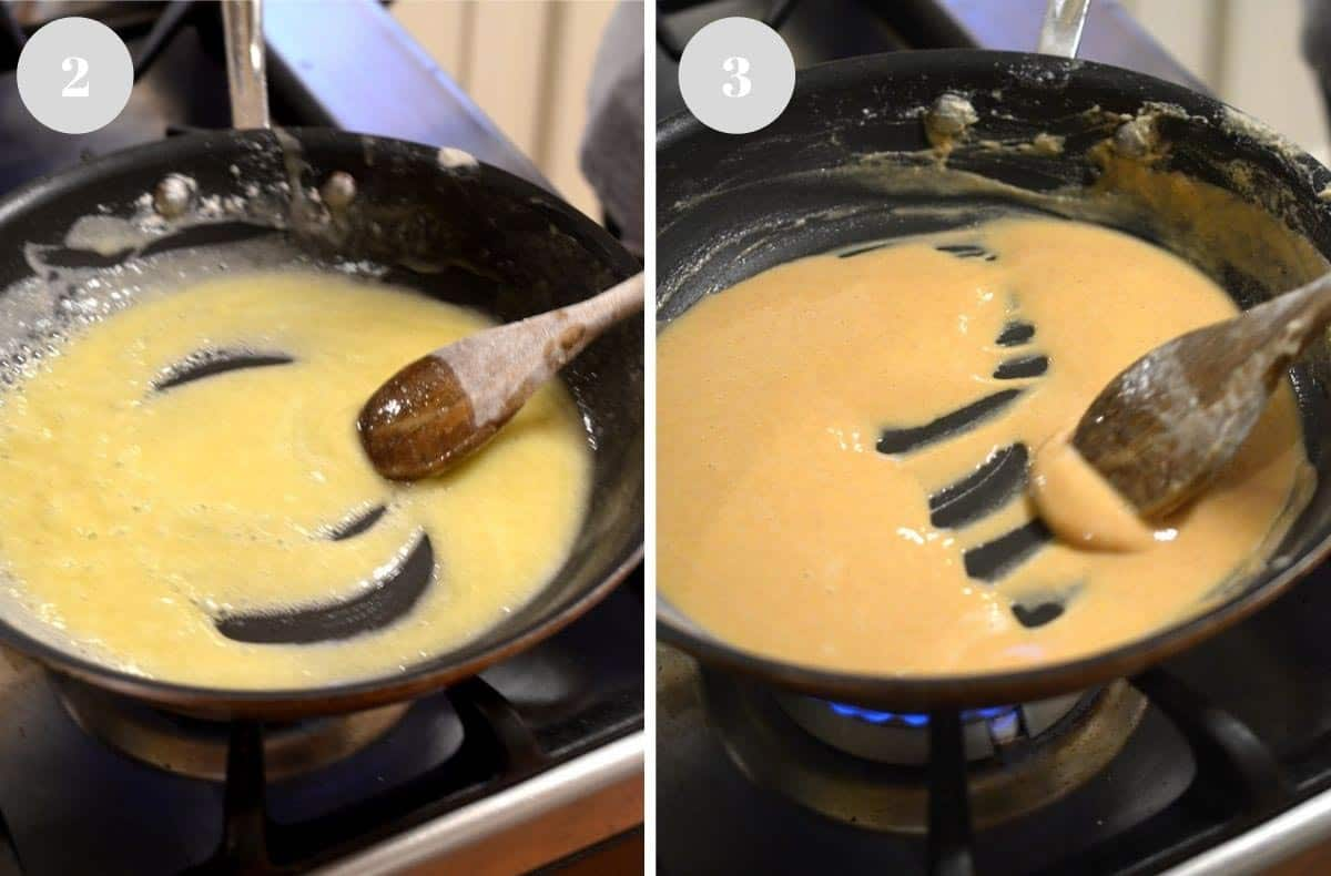 Stirring a roux from a light color to a darker one.