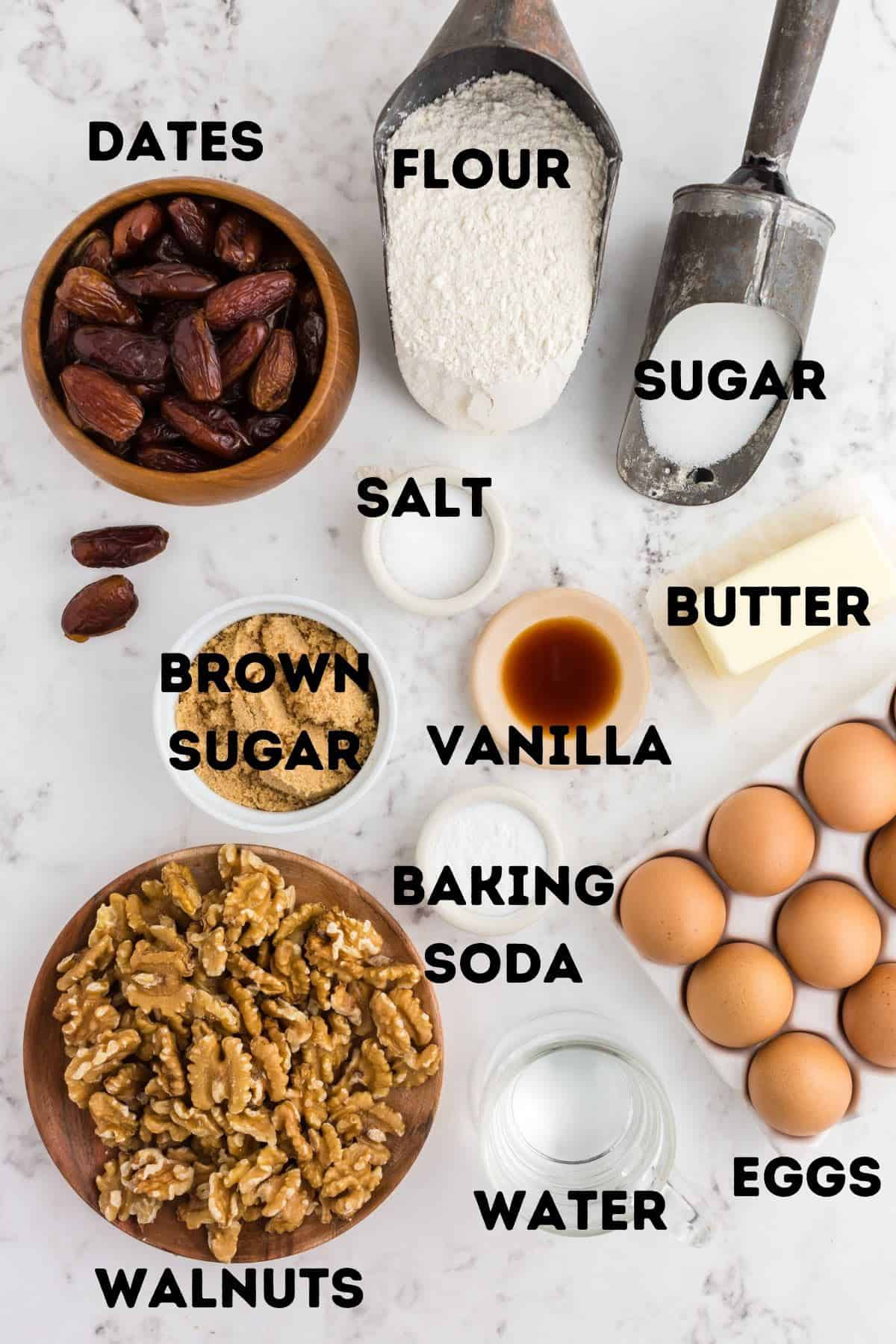 Flour, dates, sugar, and other cookie ingredients