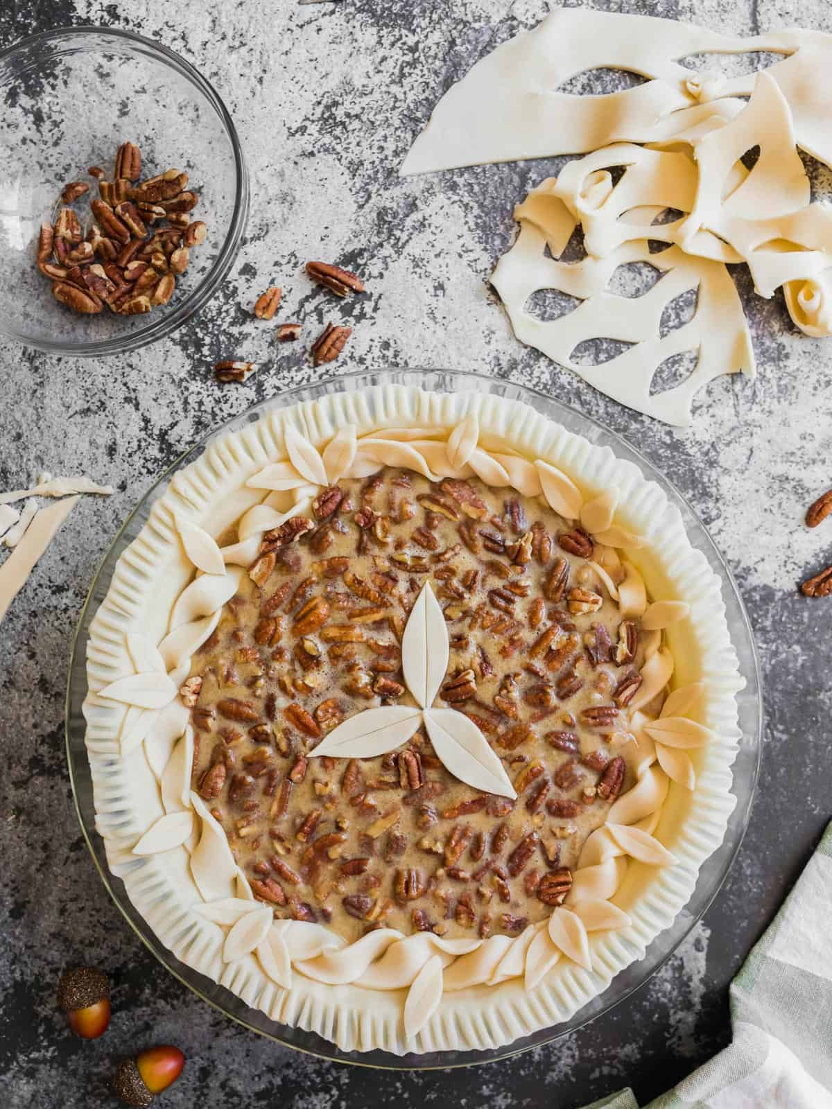 Decorating a homemade pecan pie