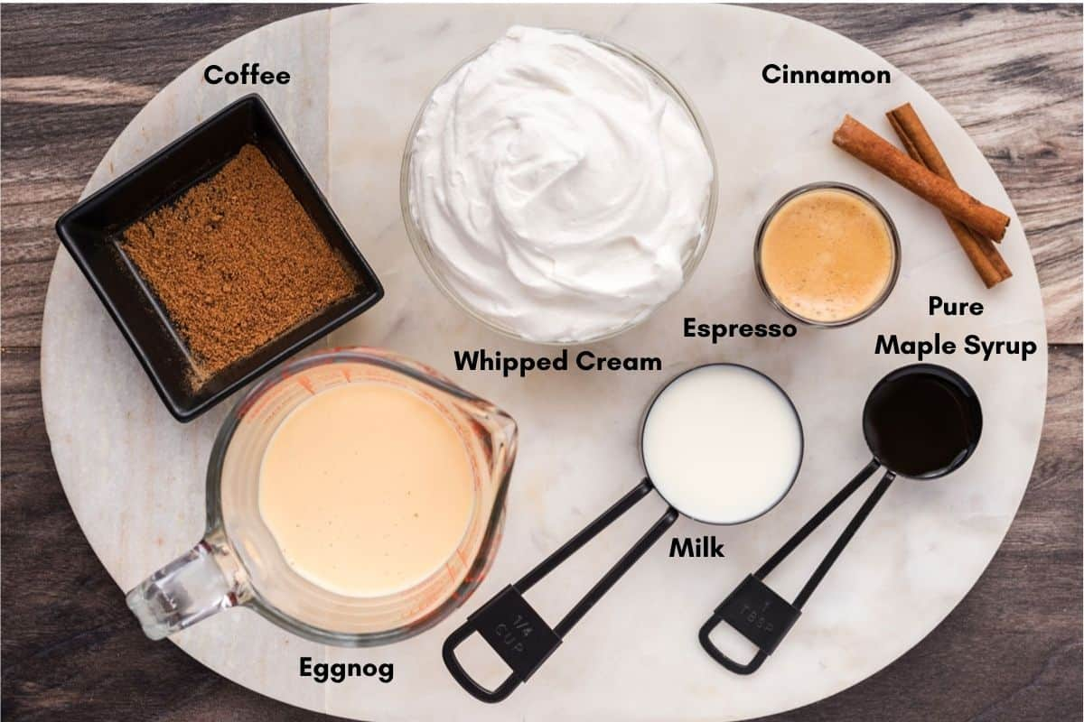 Ingredients for eggnog latte