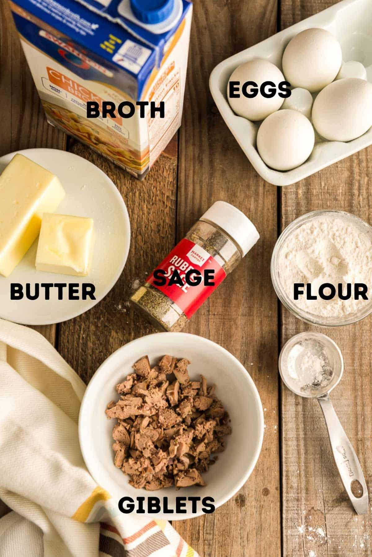 Giblets, sage, eggs, and other ingredients to make gravy.