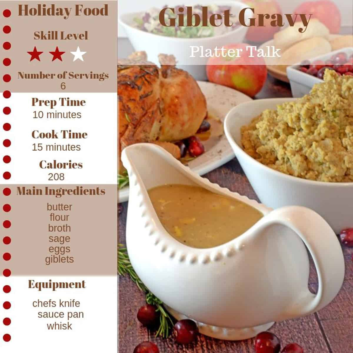 A gravy boat with other food and recipe information.