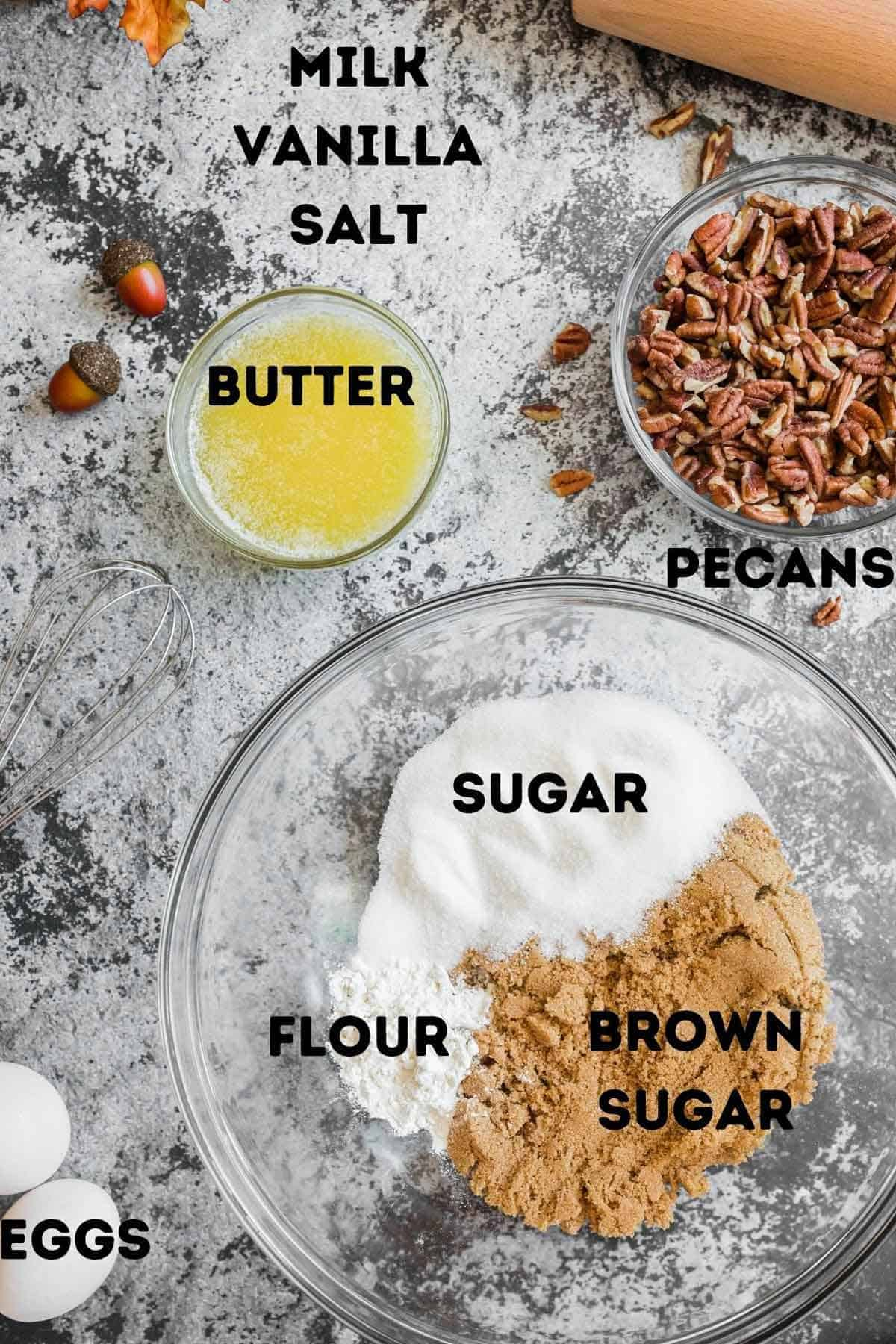 Sugar, butter, and other ingredients to make homemade pecan pie.
