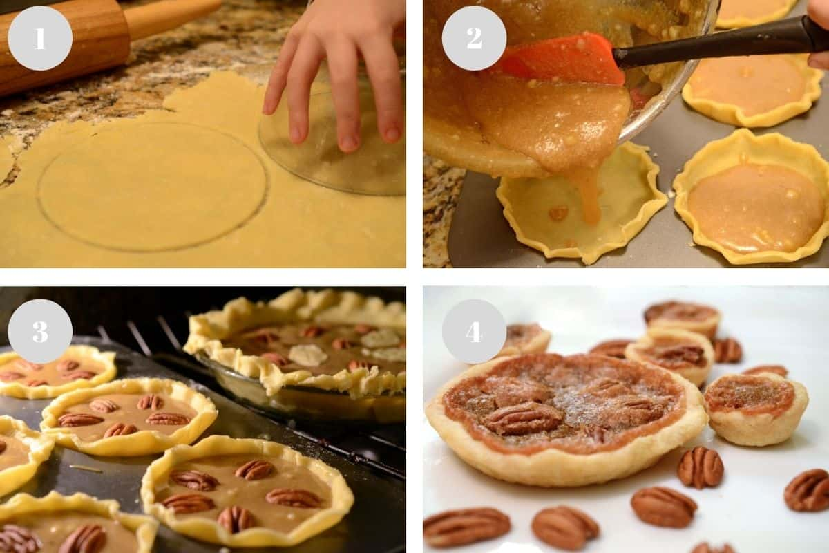 Rolling dough and adding filling to make mini pecan pies.