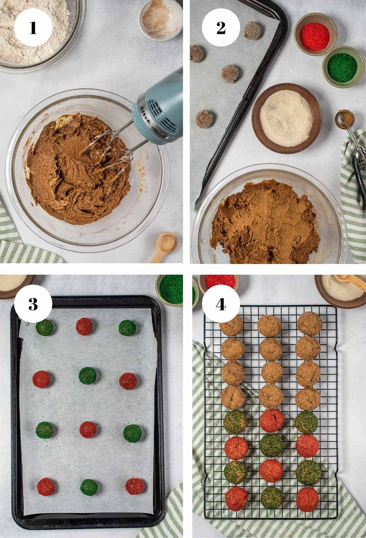 Mixing cookie dough and baking a batch of red, green, and brown cookies.