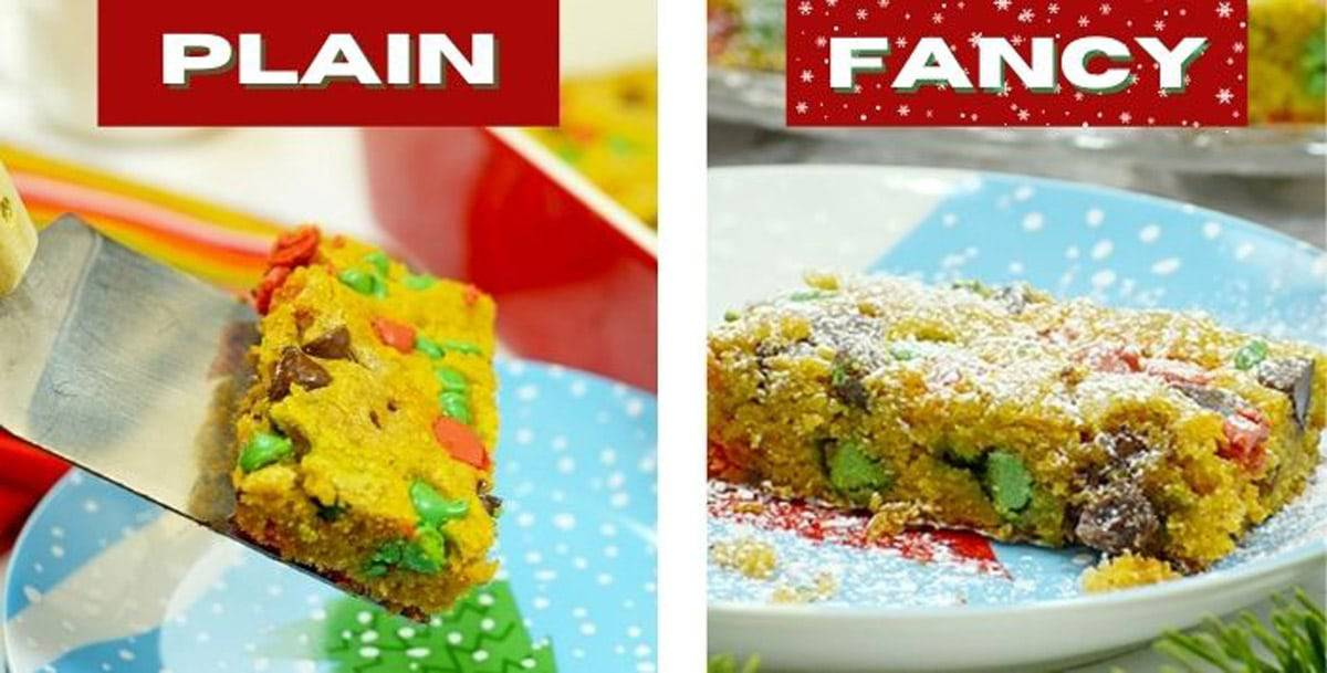 A Christmas cookie bar with and without powdered sugar.