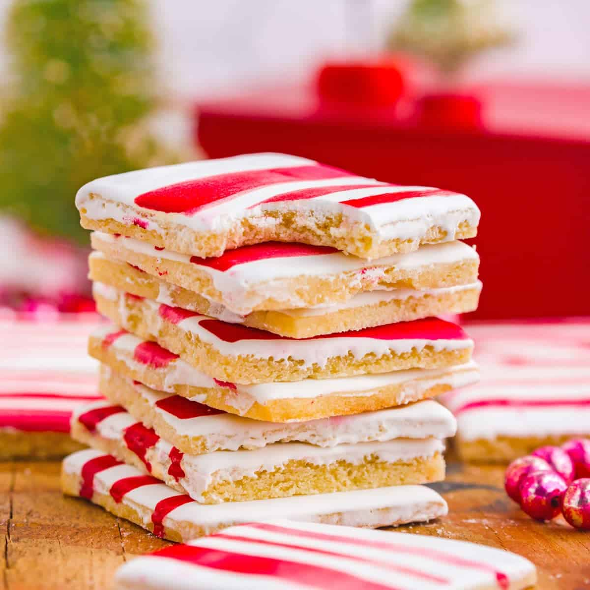 Stack of red striped sugar cookies