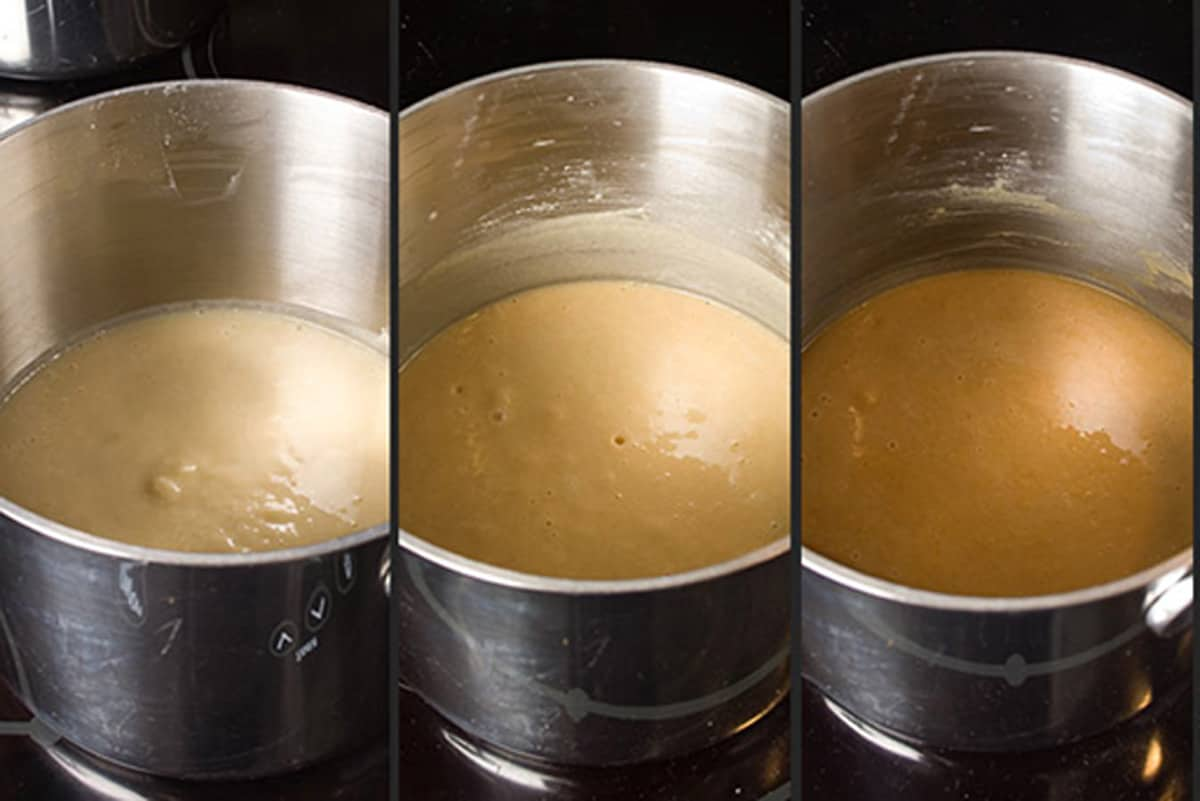 Three sauce pans of different colored roux.