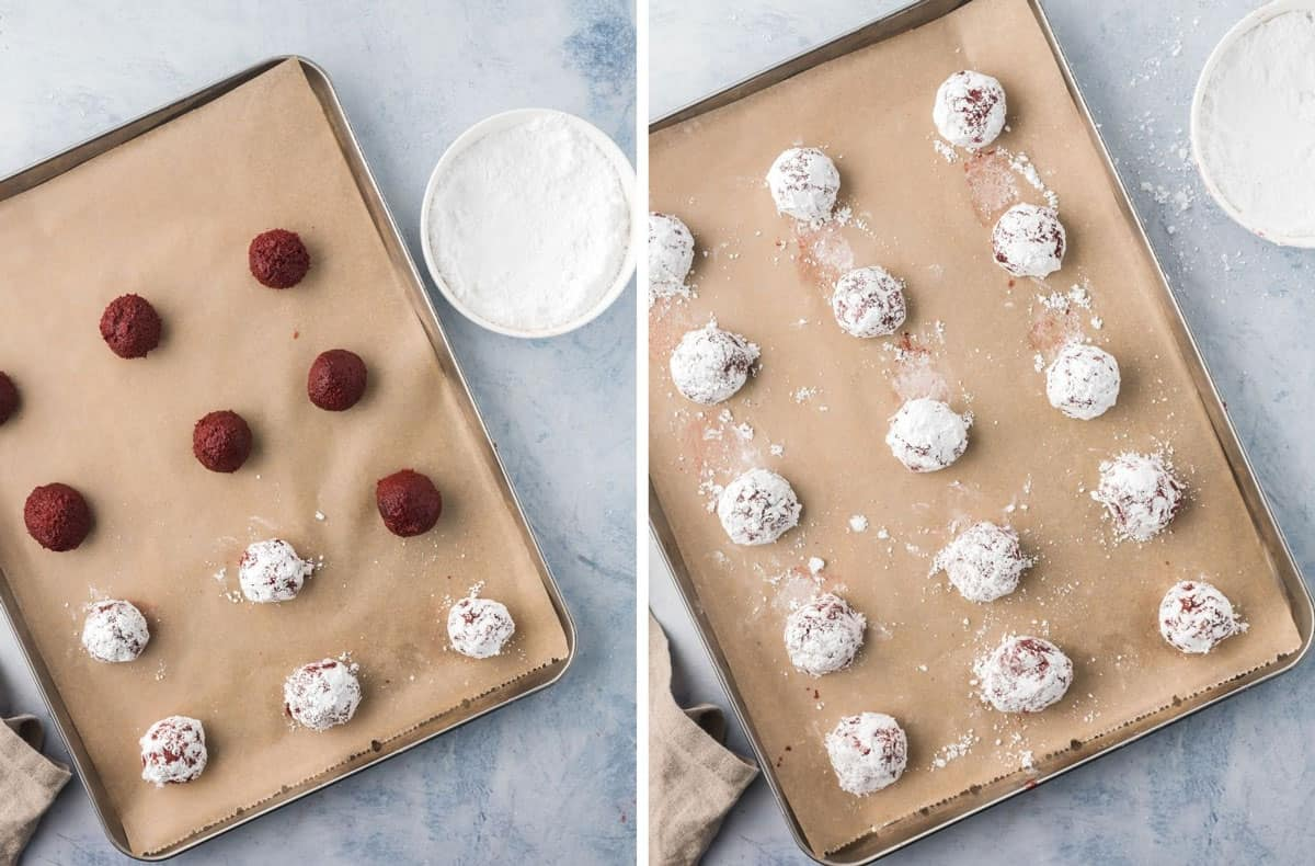 Unbaked cookie dough on a baking sheet