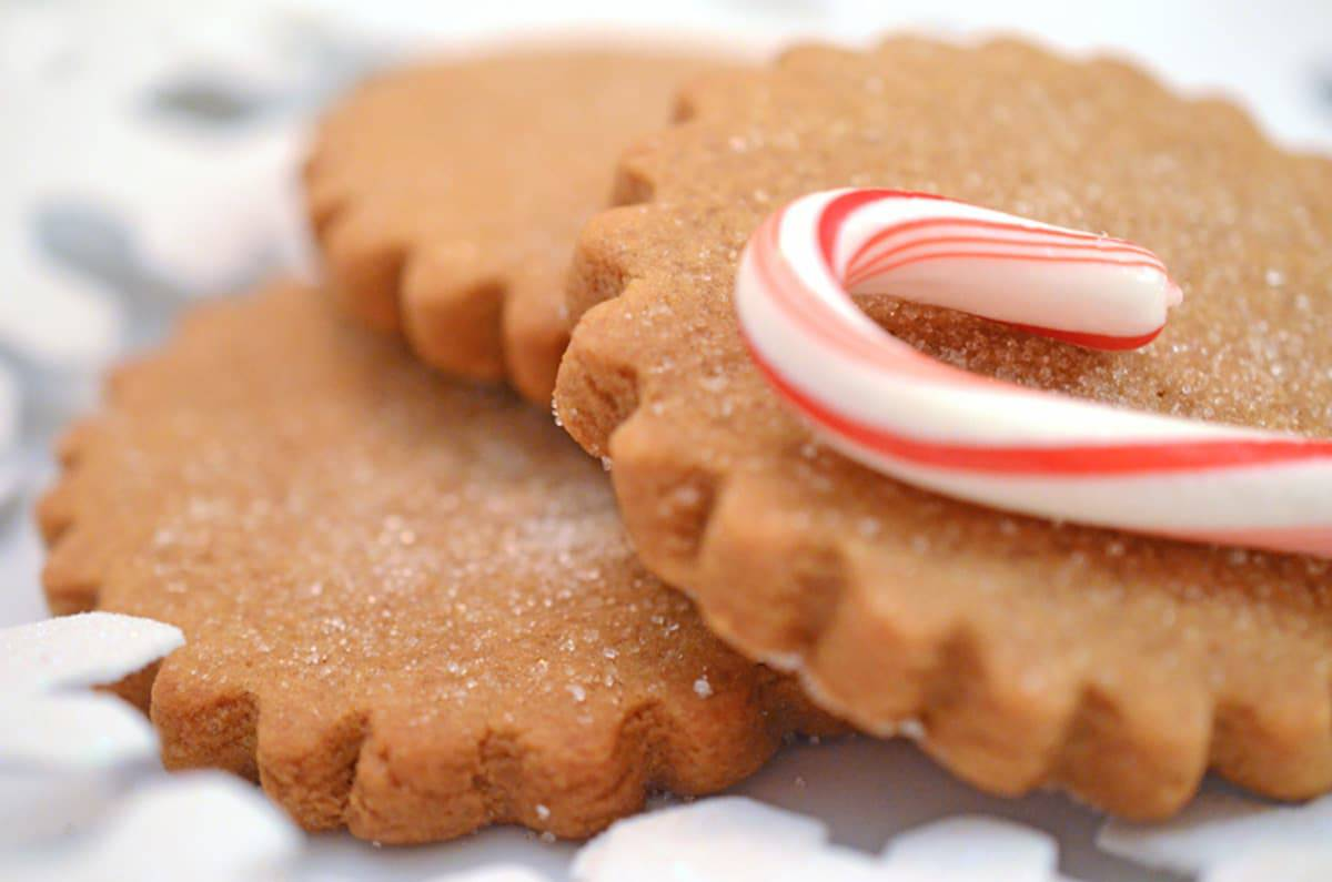 A trio of ginger cookies with a candy cane.
