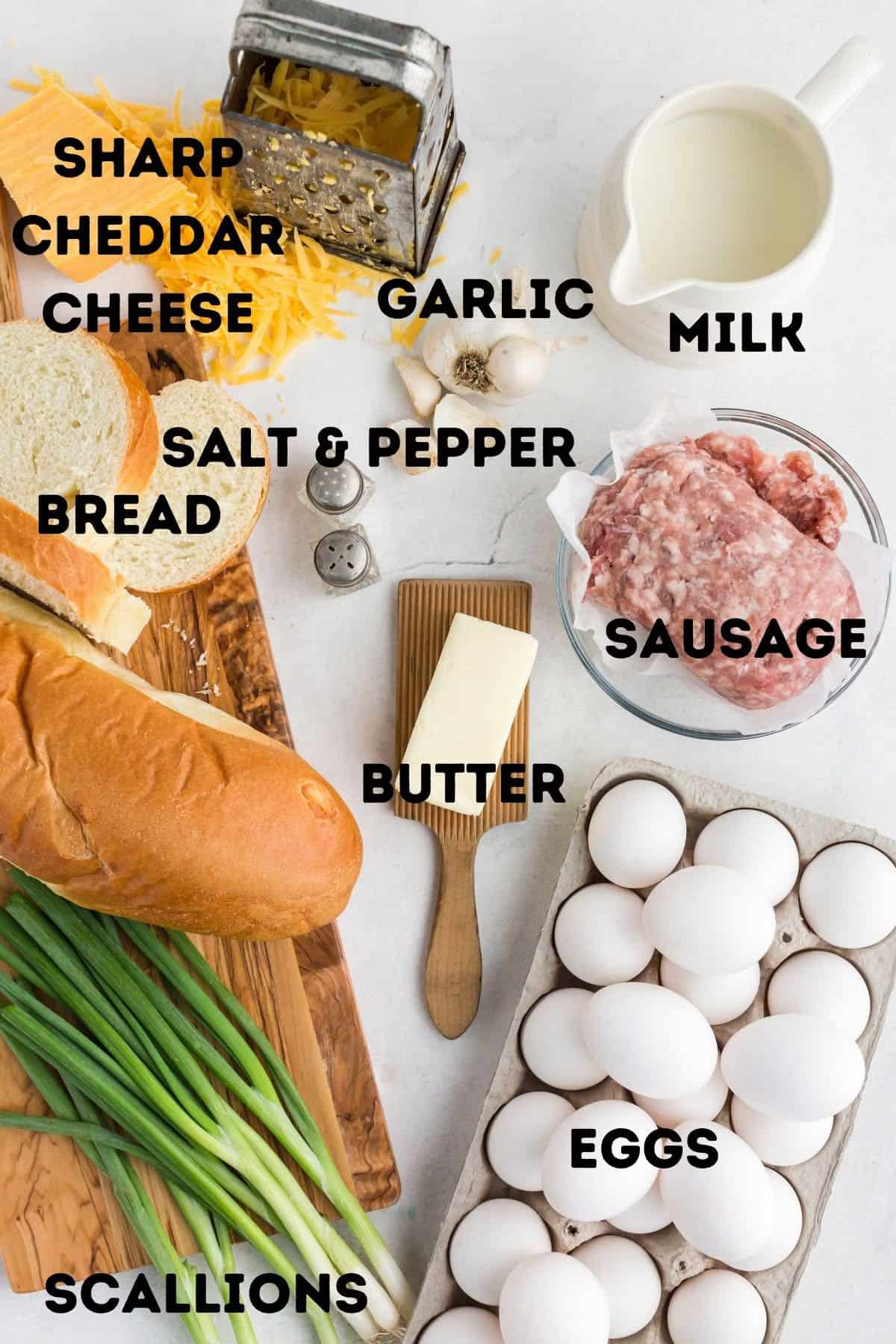Ingredients for an egg and sausage Christmas breakfast casserole.