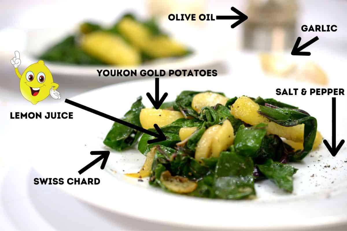 A plate of Swiss chard and potatoes with labeled ingredients for Blitva.