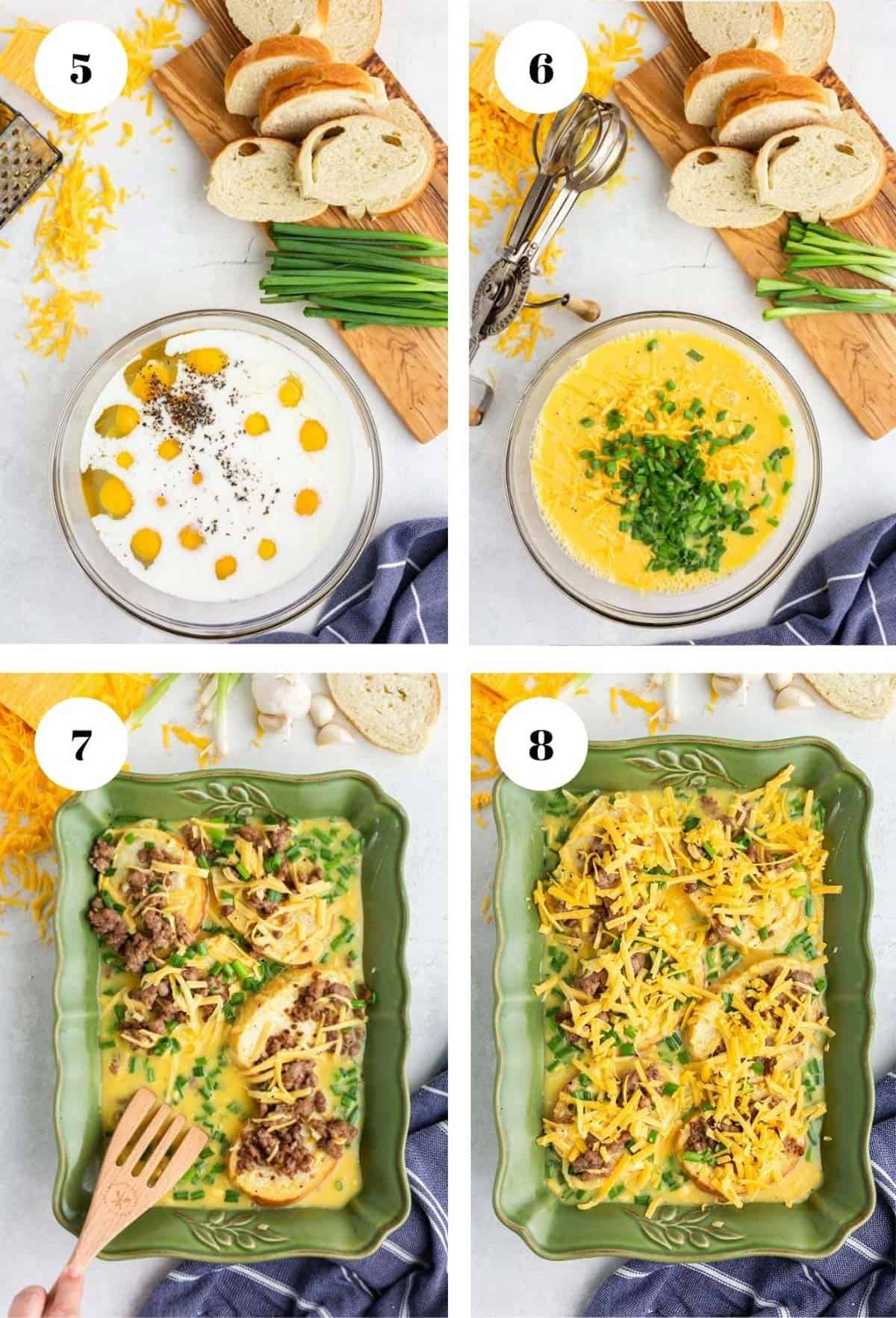 Mixing eggs and and adding to an overnight breakfast casserole.