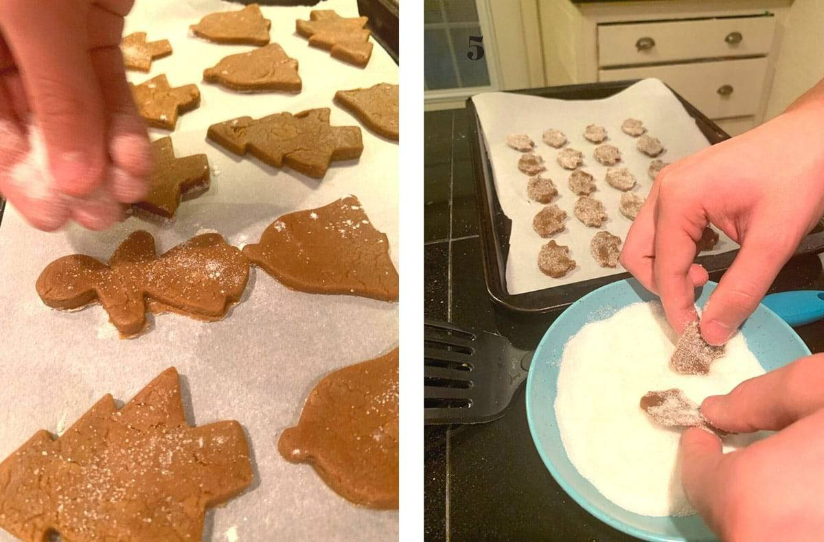 Sprinkling sugar on ginger cookies.