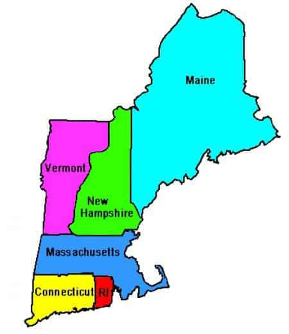 A map showing the states of New England.