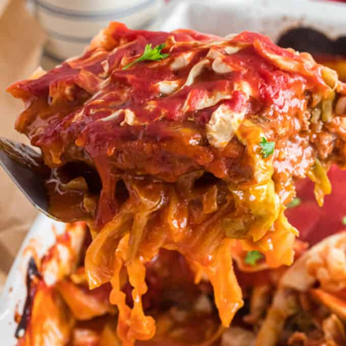a helping of cabbage roll casserole.
