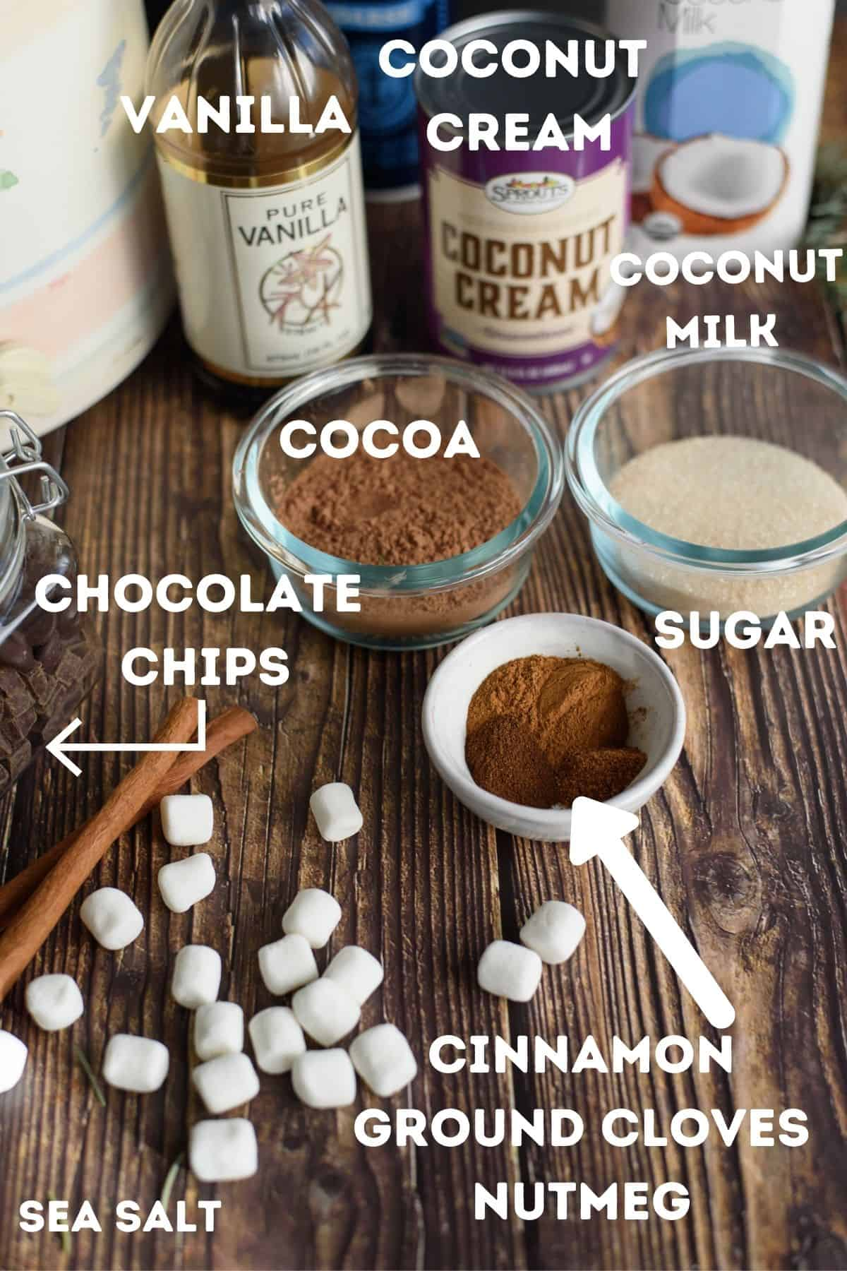 Ingredients for vegan hot chocolate