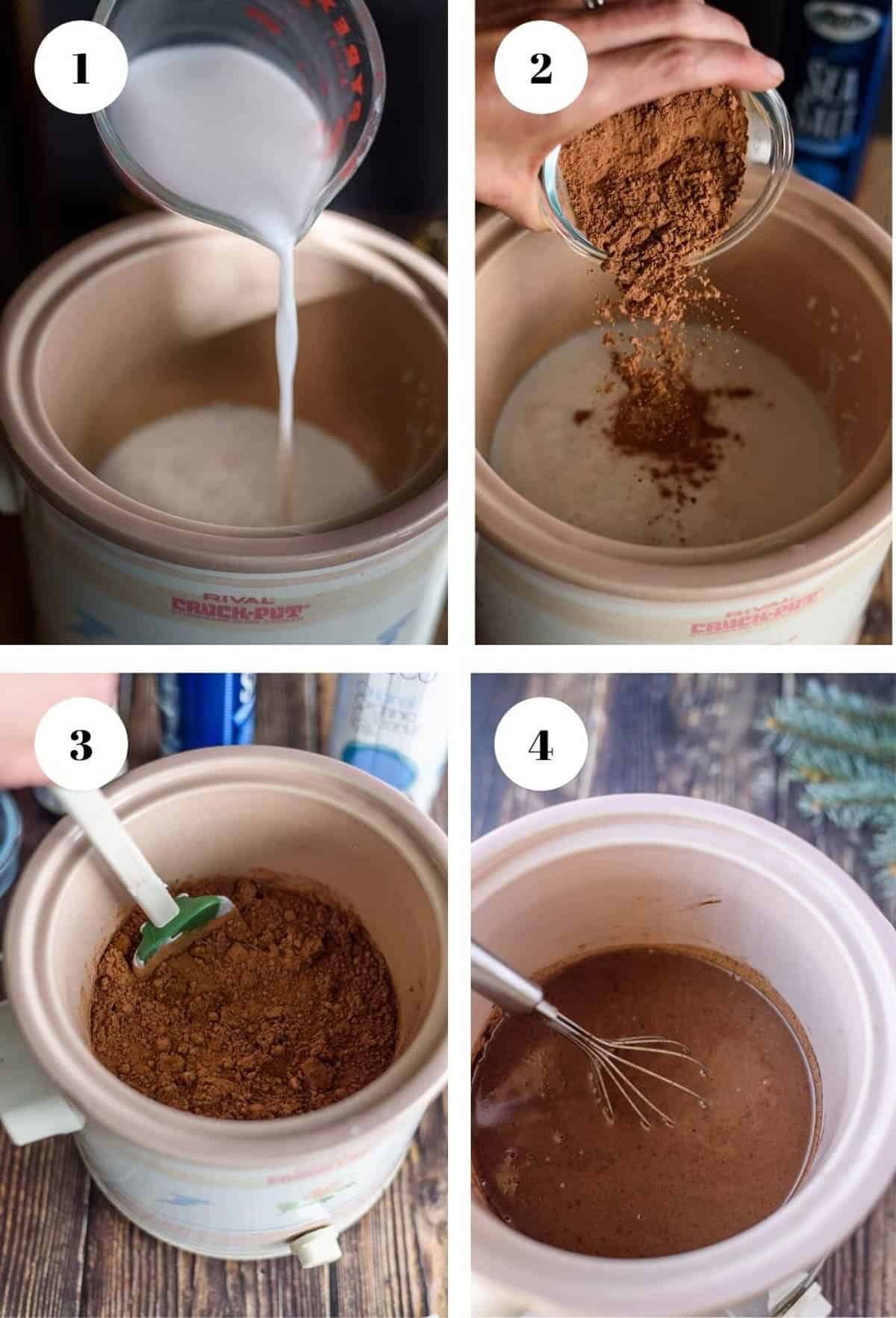 Pouring ingredients into a crock pot for vegan hot chocolate