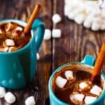 two mugs of vegan hot chocolate