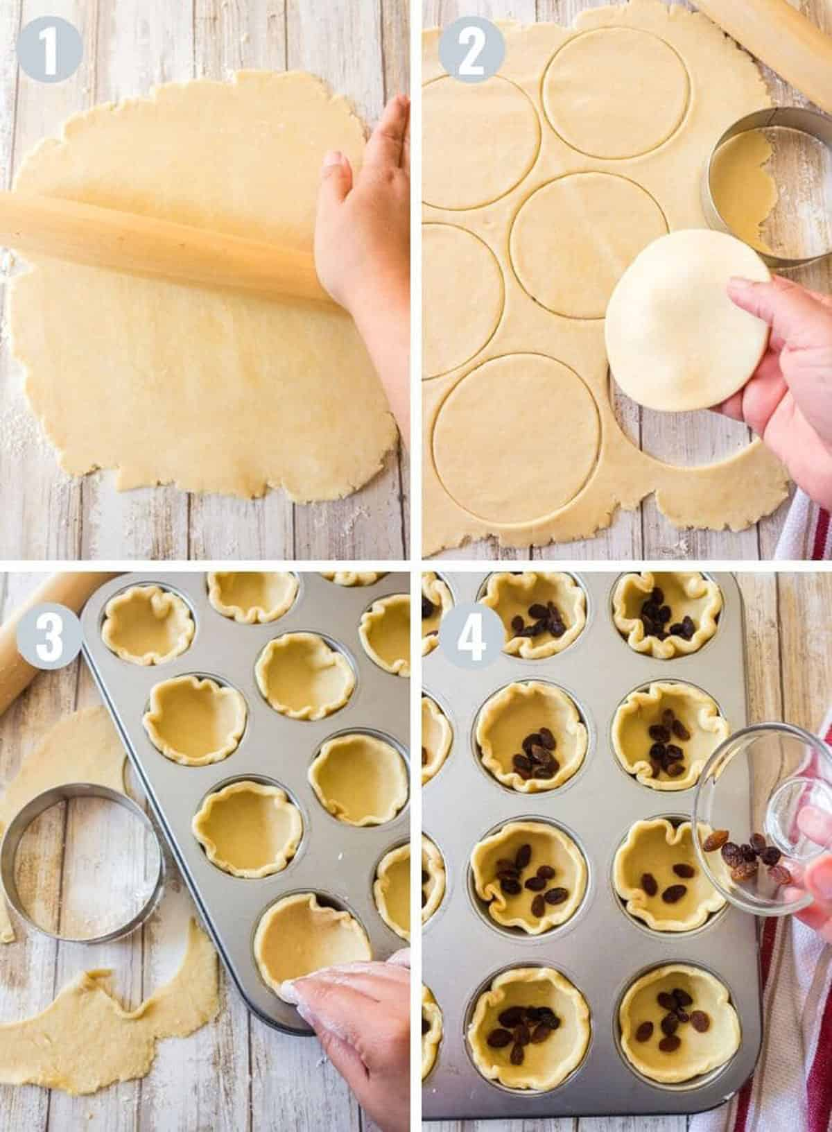 Rolling out dough and making butter tarts.