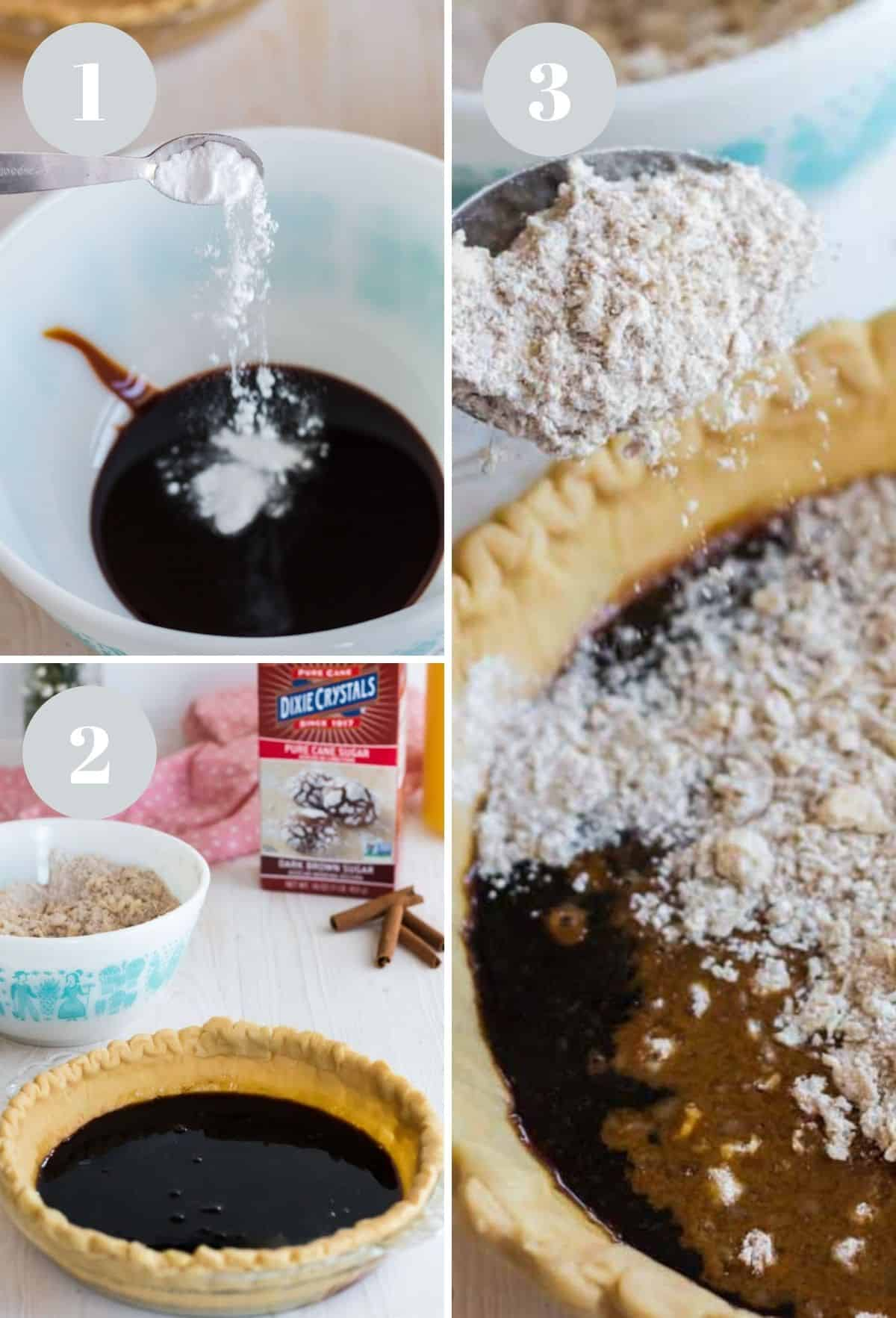 Adding molasses and water to a mixing bowl and a crumb topping on a pie.