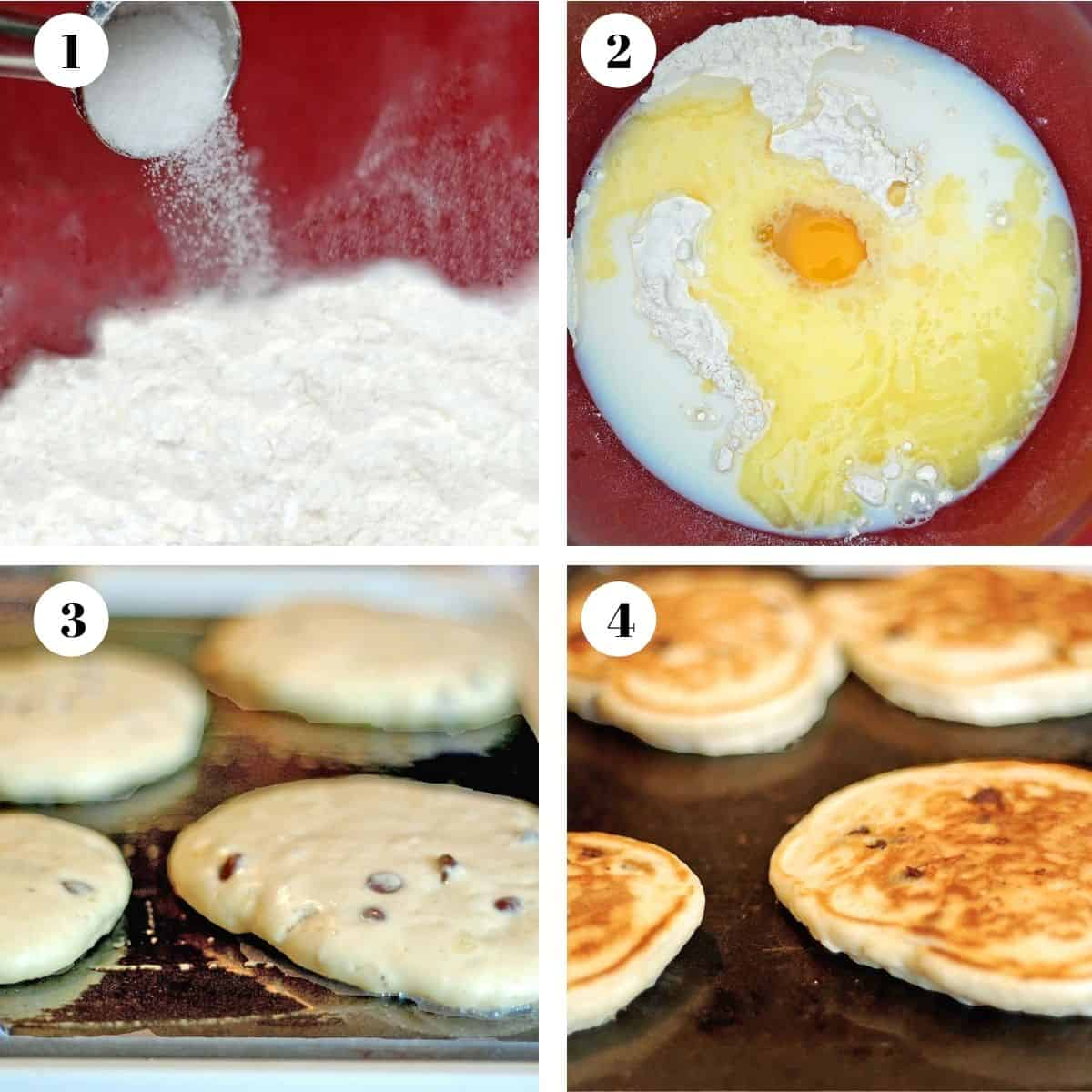 Pouring ingredients into a mixing bowl and then cooking pancakes on a griddle.
