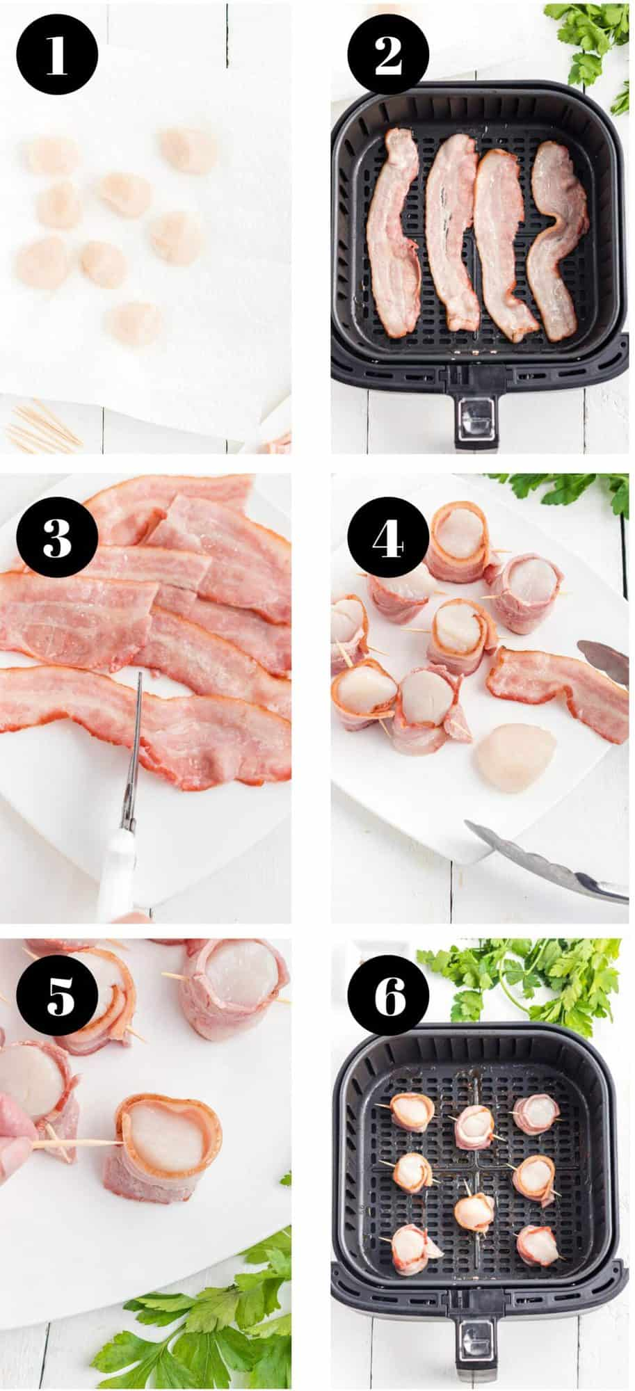 The steps for making scallops in an air fryer