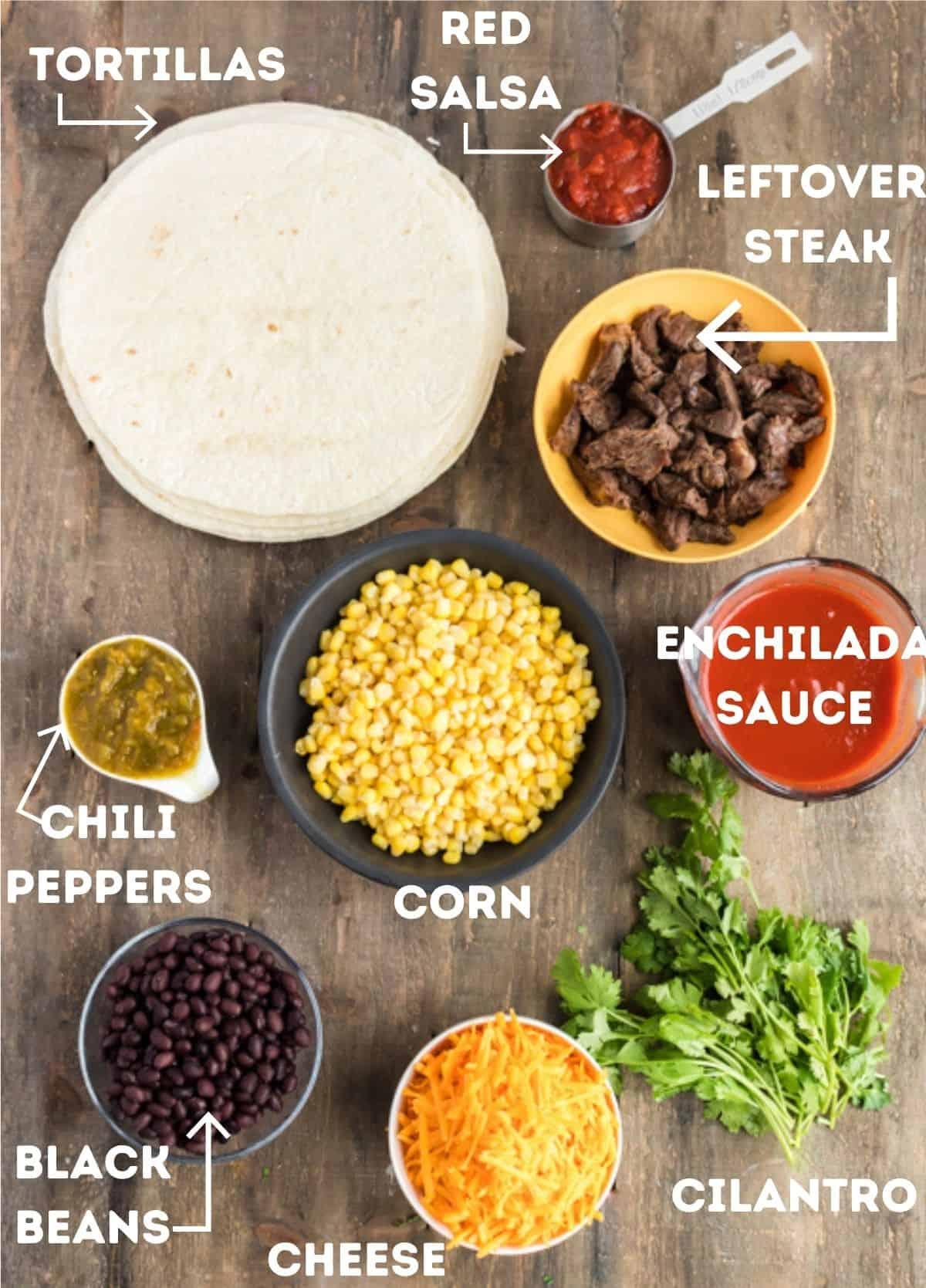 Leftover steak and other ingredients to make beef enchiladas.