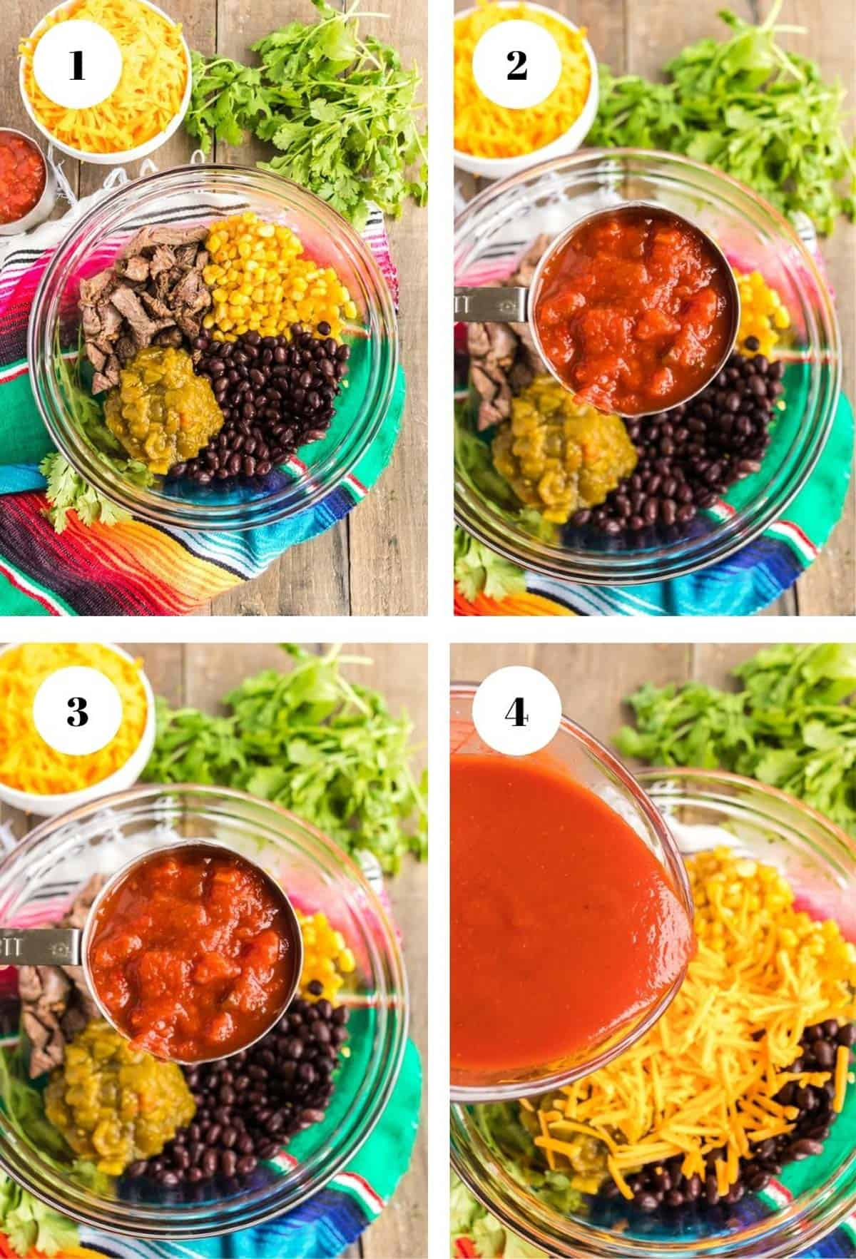 Pouring ingredients into a bowl to make enchiladas.