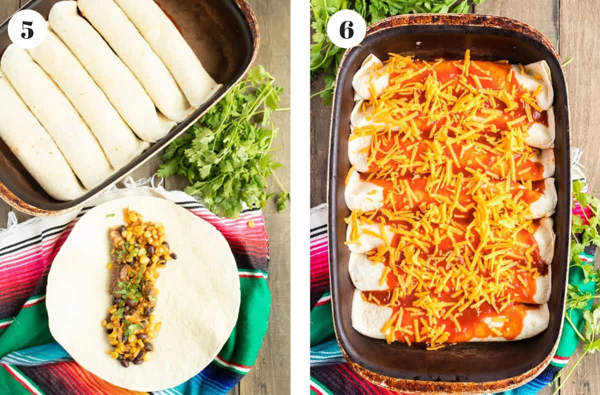 Rolling enchiladas and then placeing them in a baking pan.