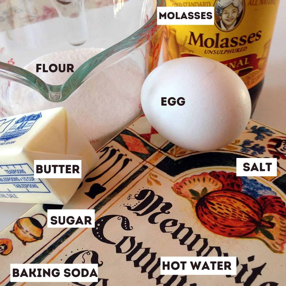 An egg, flour, butter, molasses and other baking ingredients.
