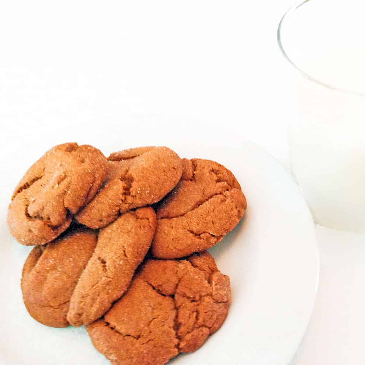 A plate of cookies and milk.