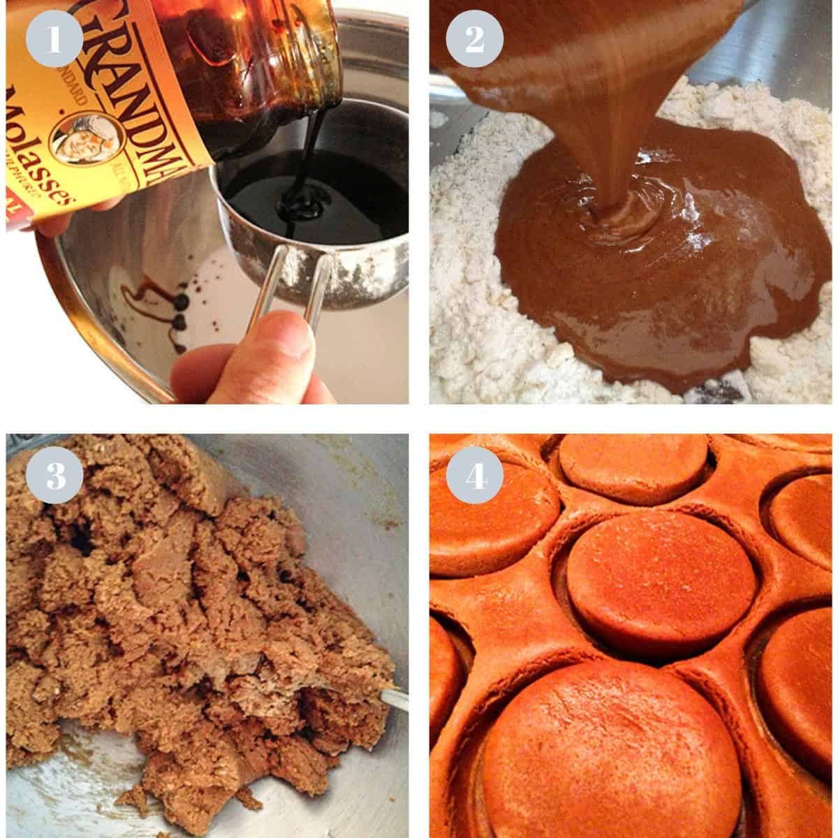 Pouring molasses into a mixing bowl and making molasses cookies.
