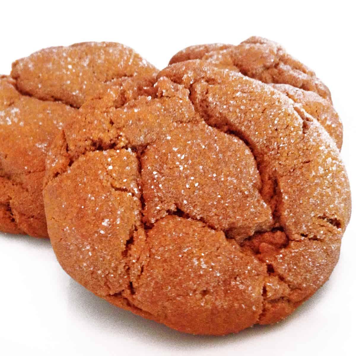 A trio of molasses cookies.