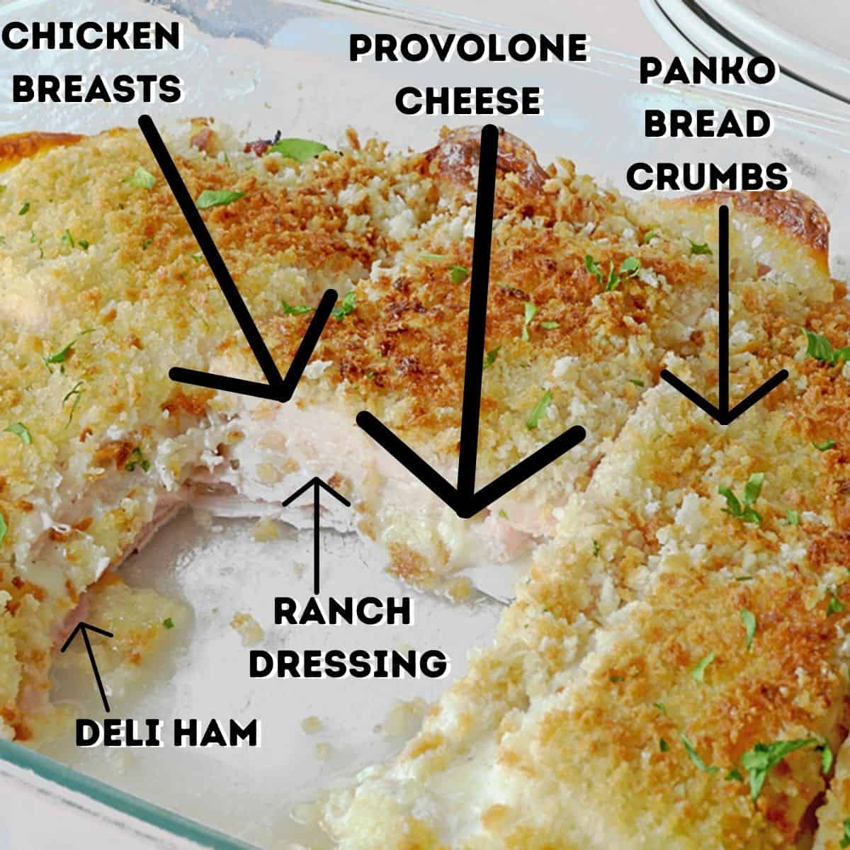 Chicken cordon bleu casserole with a piece cut out and list of ingredients.