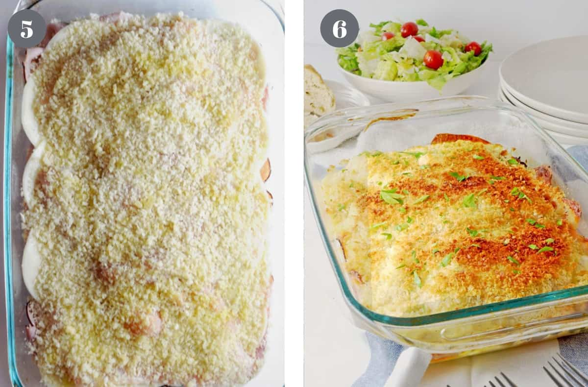 An unbaked casserole next to the finished one.