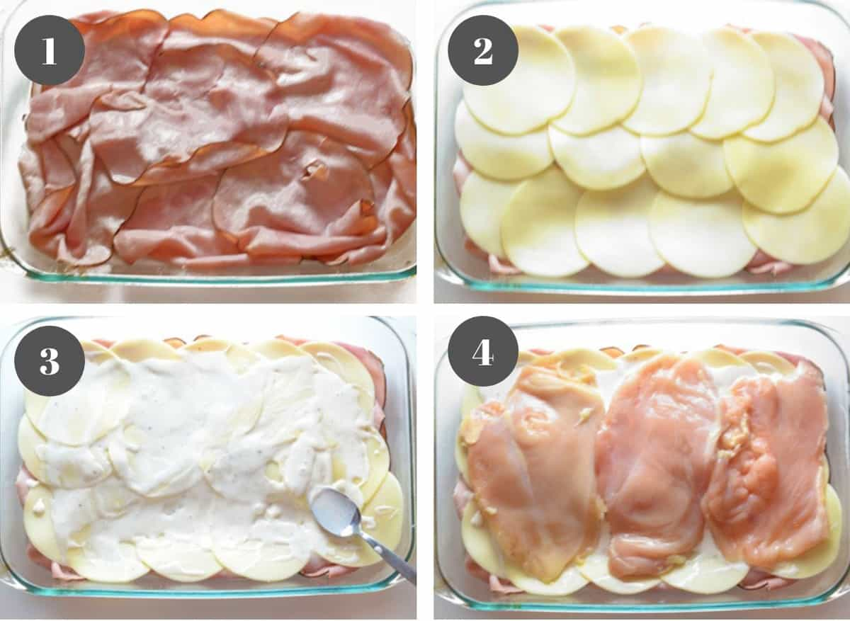 A casserole dish with ham, cheese, ranch dressing, and chicken.