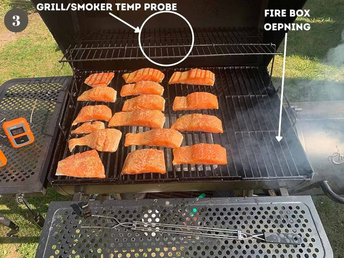 A bunch of salmon on an offset wood smoker.
