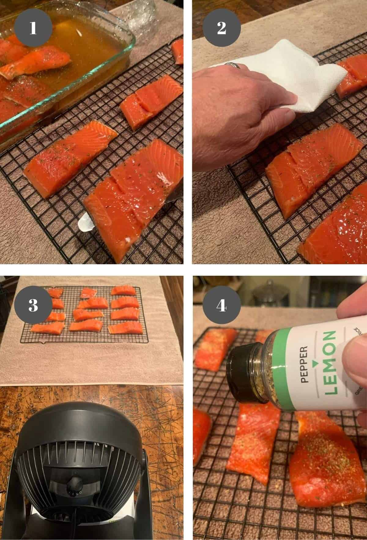 Placing slices of salmon on a wrack to dry.