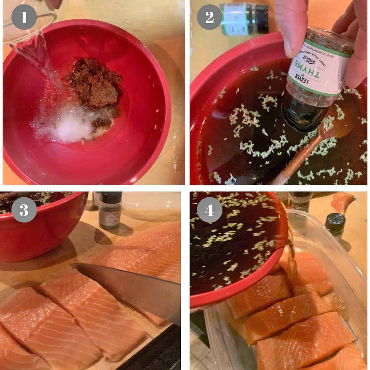 Mixing a brine and pouring it over slices of salmon.
