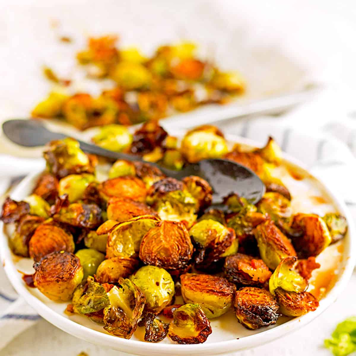A plate of Brussels sprouts.