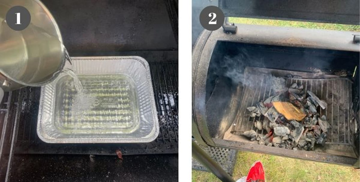 Filling a water pan of a smoker and lighting charcoal in the wood chamber.