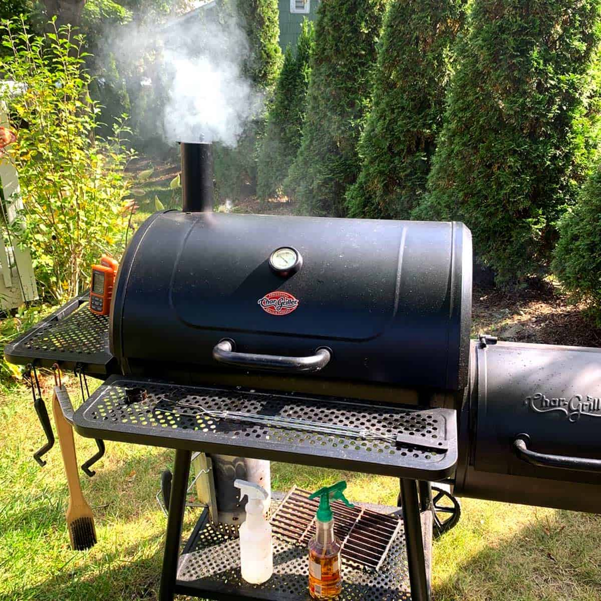 An offset smoker for making smoked meat and fish.